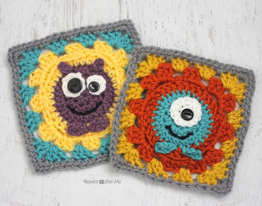 Crochet monster granny square