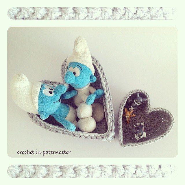 crochetinpaternoster crochet heart baskets