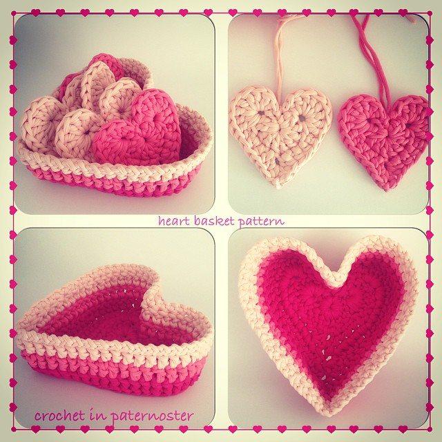 crochetinpaternoster tshirt yarn crochet heart basket