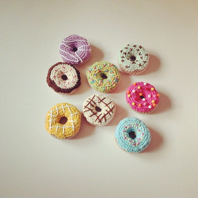 Crochet Donut Pillow : on this crochet donut pillow are made using embroidery techniques