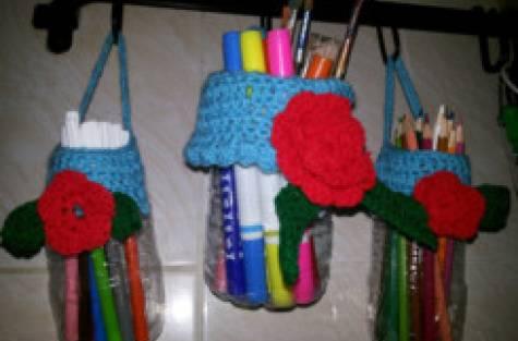 hanging crochet plastic bottles