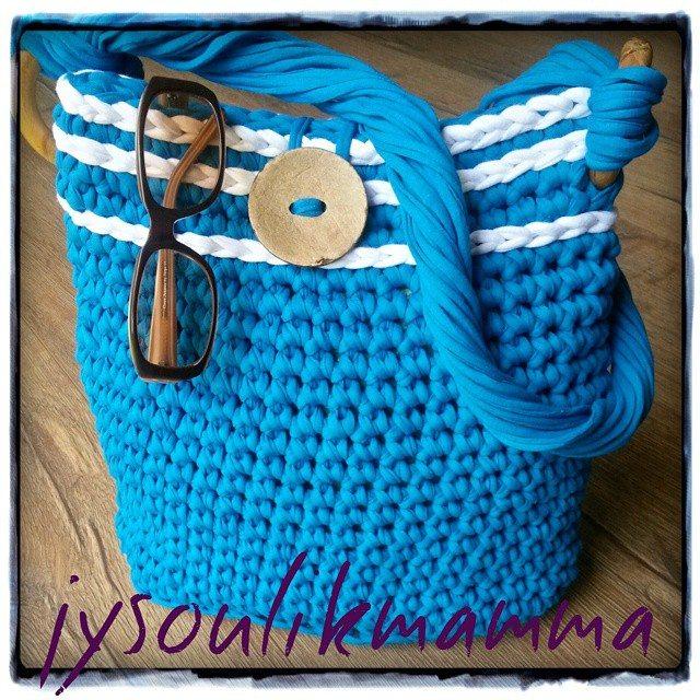 jysoulikmamma_brilliantmommy crochet t-shirt yarn bag