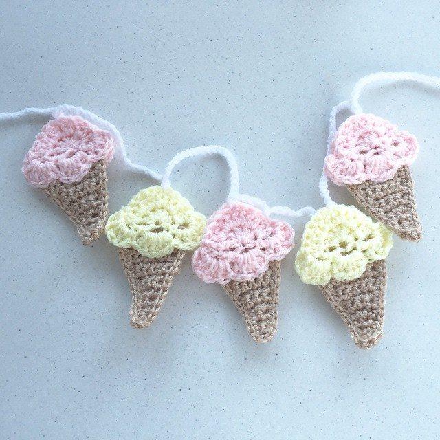 littlefoxcrochet crochet ice cream cone