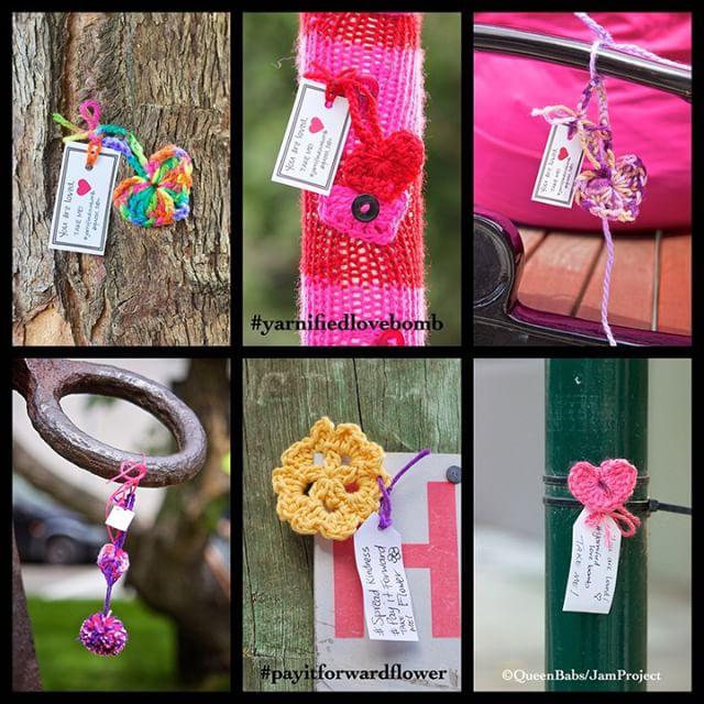 queen_babs yarnbomb crochet #yarnifiedlovebomb and the #payitforwardflower