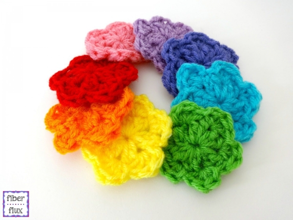 rainbow crochet flowers