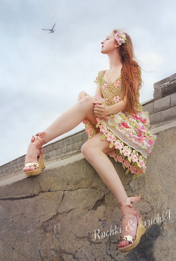 spring floral crochet dress