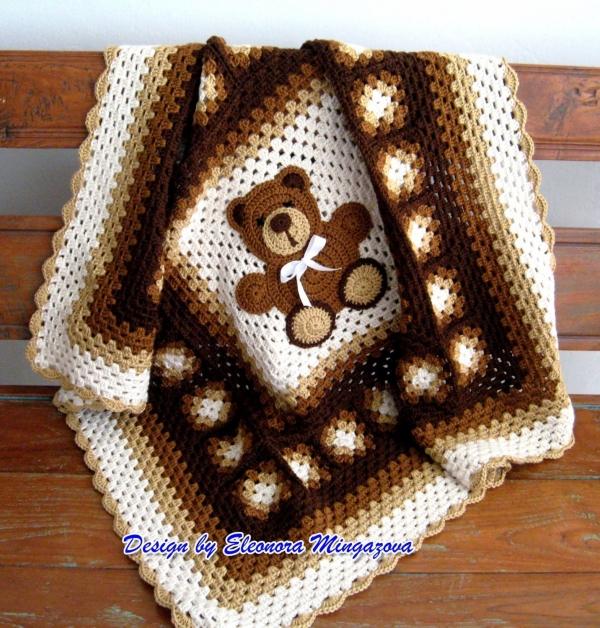 teddybeer gehaakte deken