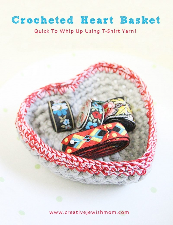 tshirt yarn crochet heart basket
