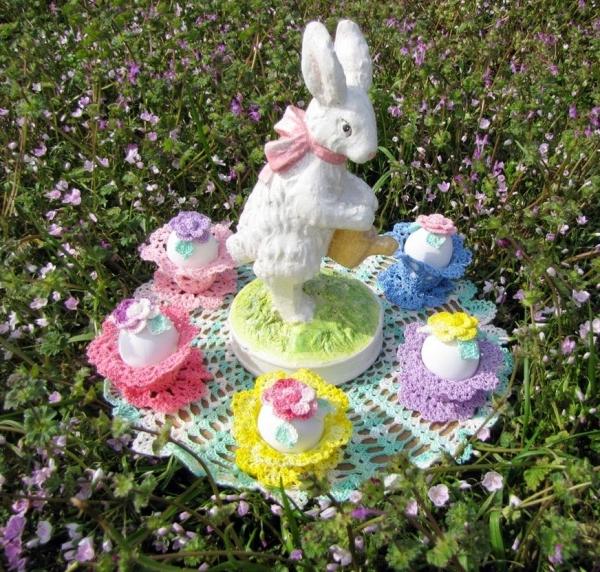 crochet easter garden doily
