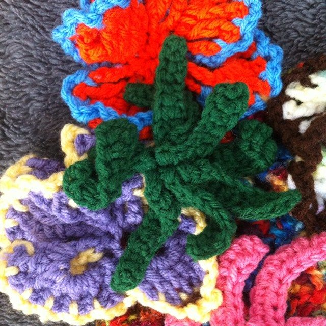 crochet flower detail