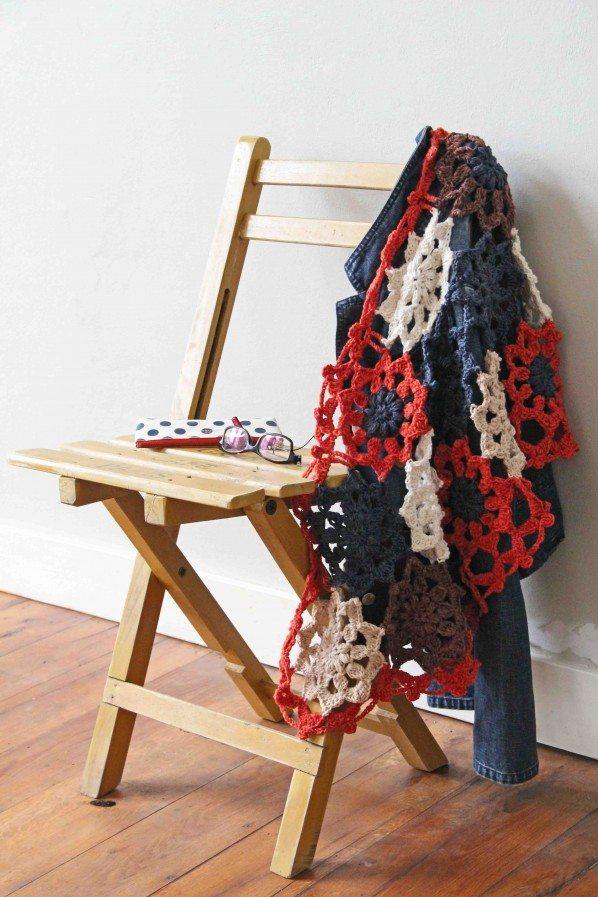 gehaakte bloem sjaal patroon