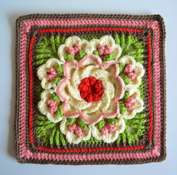 gehaakte bloem vierkant gratis patroon