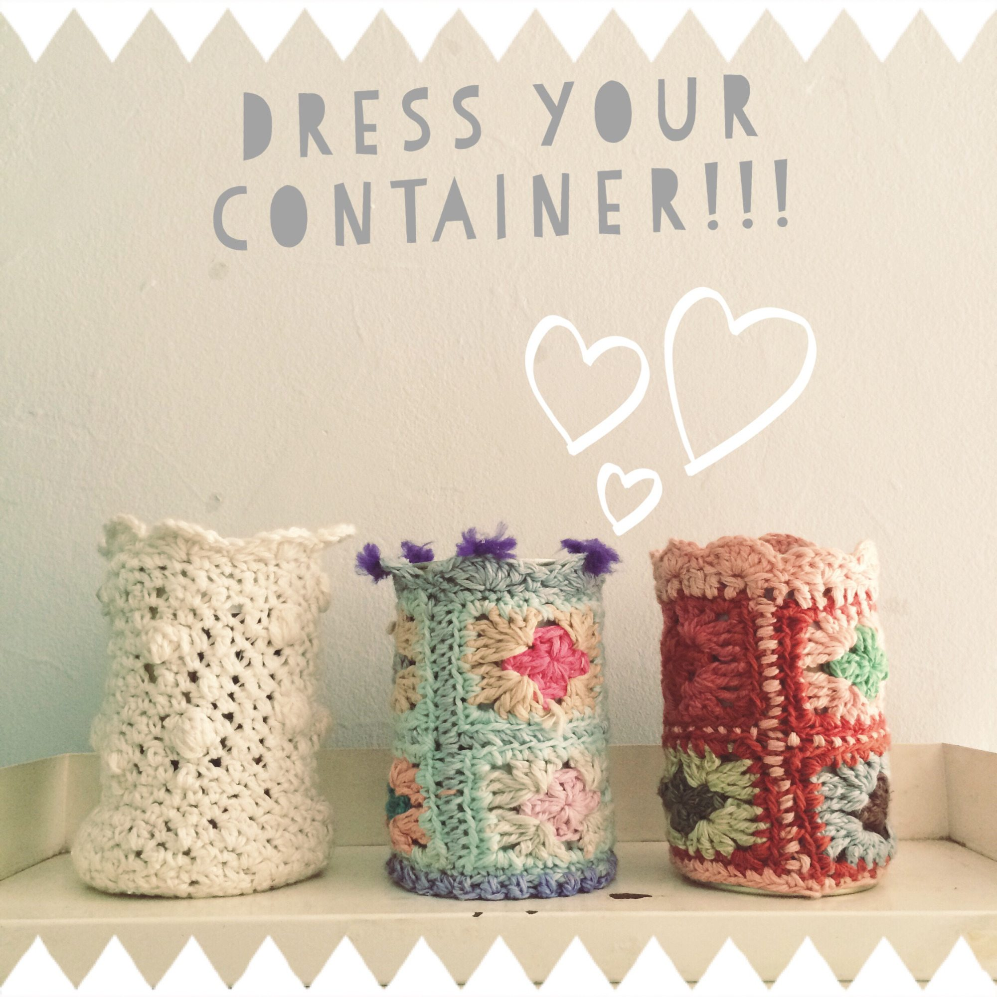 upcycle containers with crochet granny squares