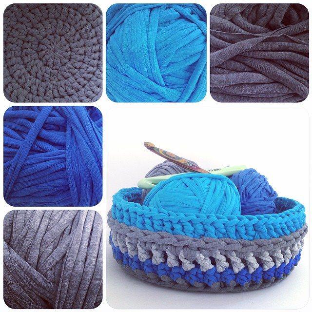 crochetinpaternoster tshirt yarn basket