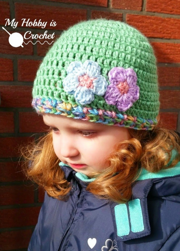 free crochet hat pattern for kids with flower