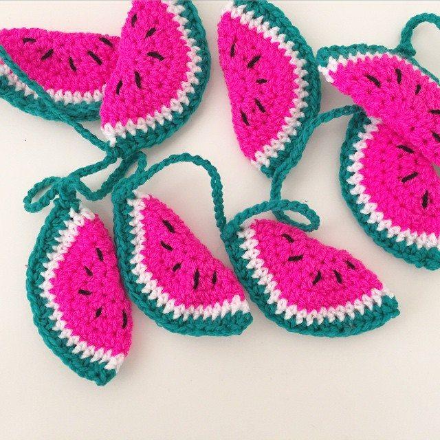 littlefoxcrochet watermelon bunting