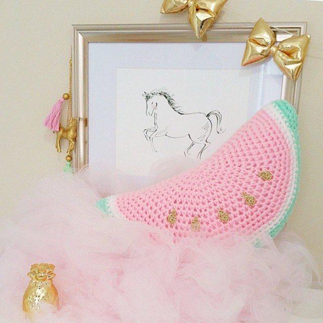 littlefoxcrochet watermelon crochet cushion