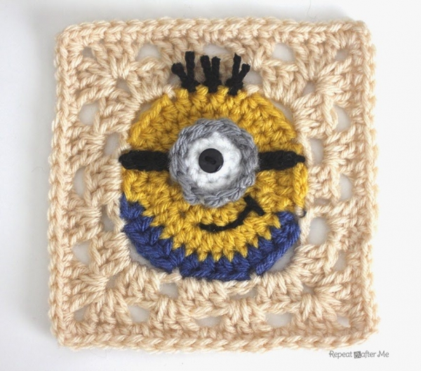 minion crochet granny square