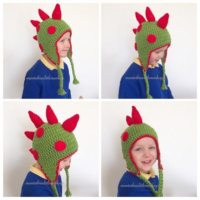 mumtothreelittlemonkeys crochet dino hat