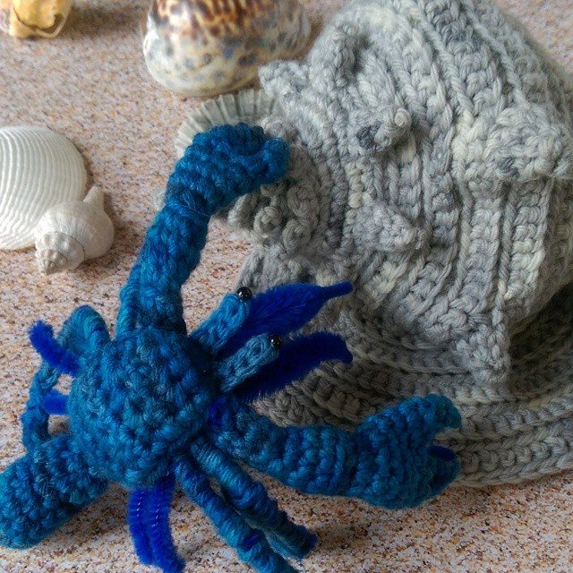 oakherder crochet hermit crab and shell