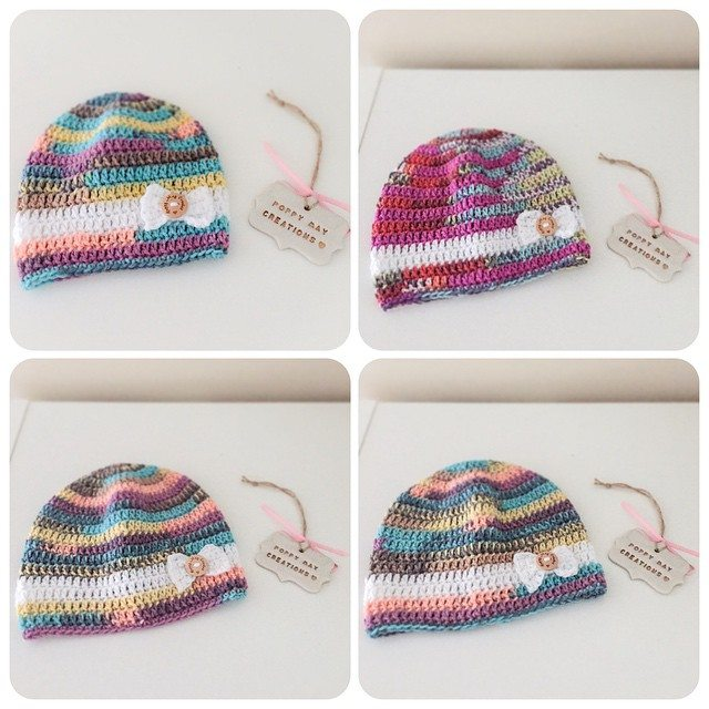 poppymaycreations crochet bow hat