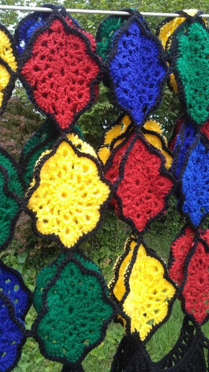 stained glass crochet shawl