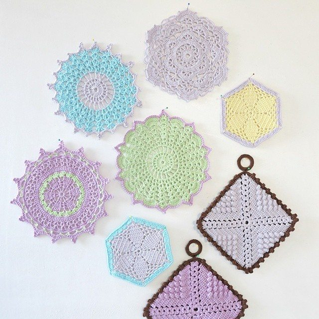 byhaafner crochet pastel potholders