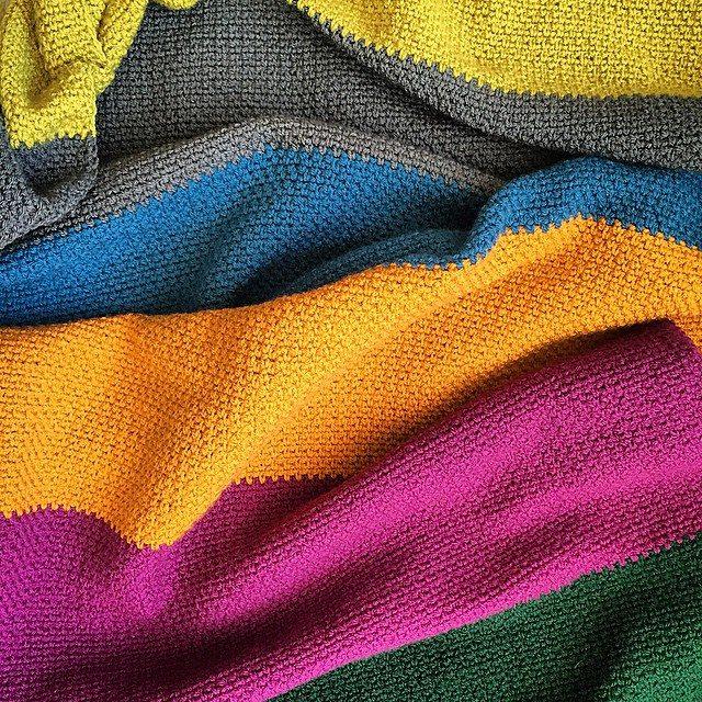 cozamundo crochet moss stitch blanket