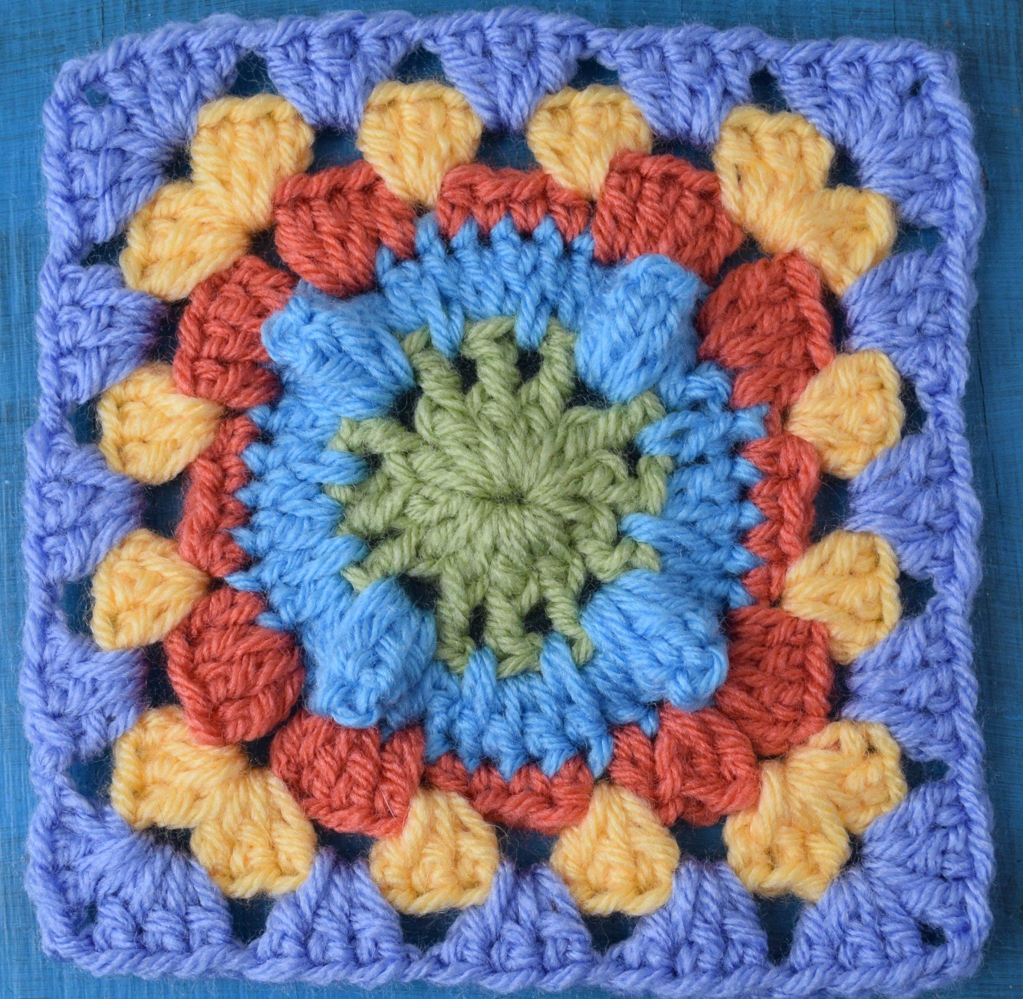 crochet popcorn granny square