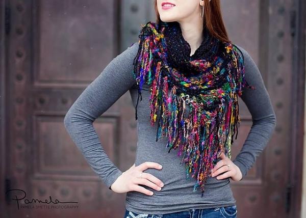 gehaakte zijden sari sjaal patroon