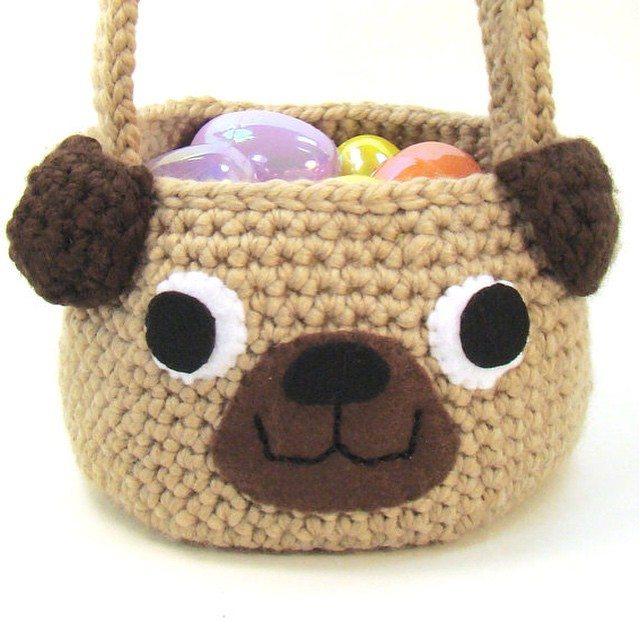 cuddlebugkids crochet basket pug
