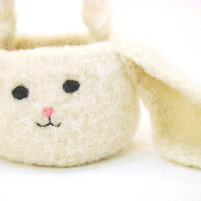 cuddlebugkids felted crochet easter basket bunny