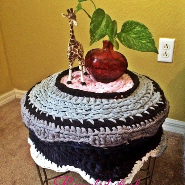 daniellajoe crochet upcycled stool