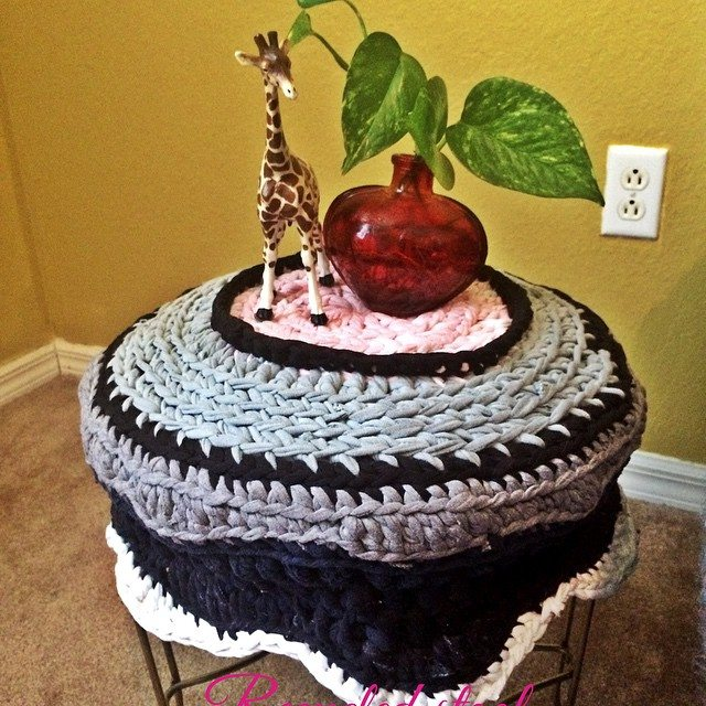 daniellajoe crochet upcycled stool