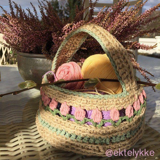 ektelykke crochet easter basket