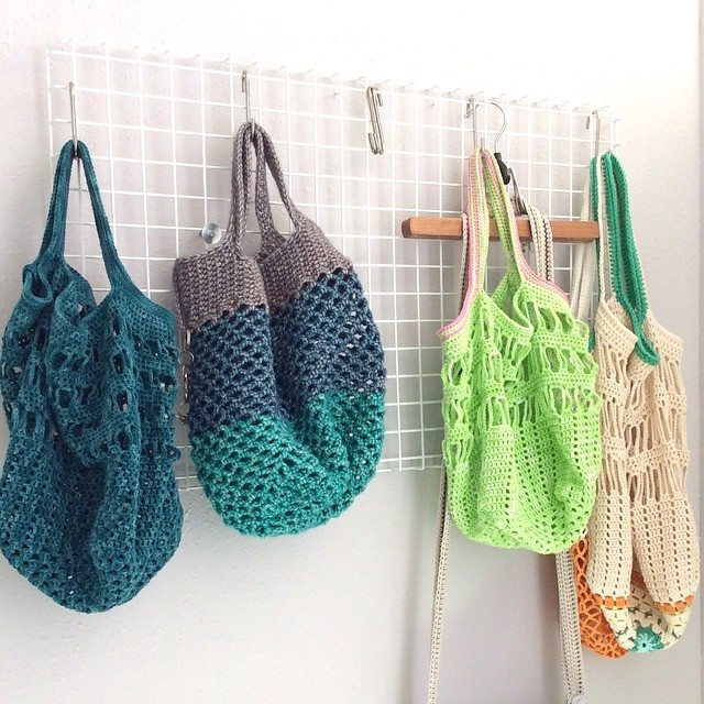 elisabethandree crochet shopper bags