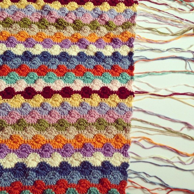 flamingpot crochet weaving in ends striped colorful blanket
