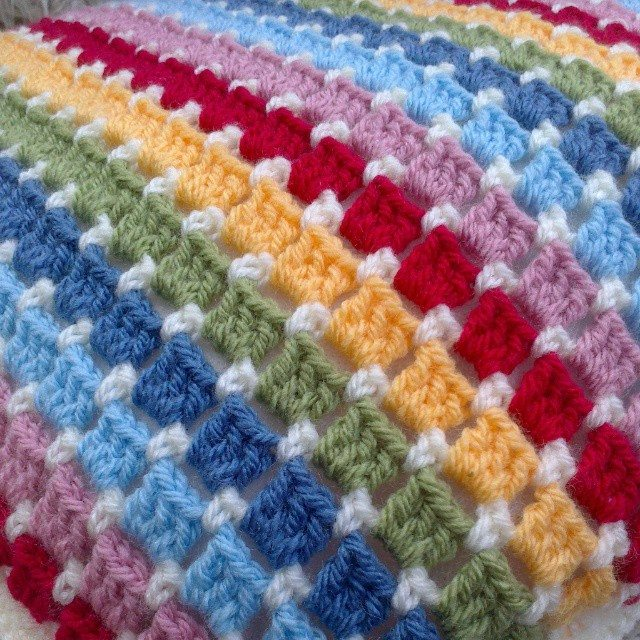 forestflowerdesigns crochet cushion rainbow stripe