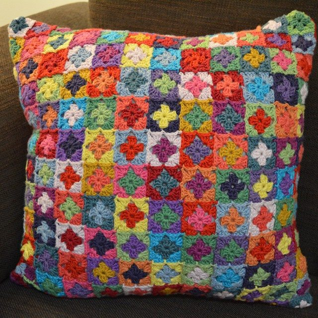 knitpurlhook colorful crochet squares cushion
