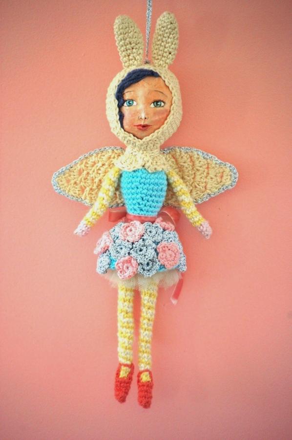 mixed media crochet art doll