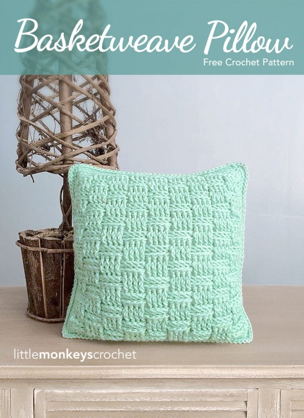 basketweave pillow free crochet pattern
