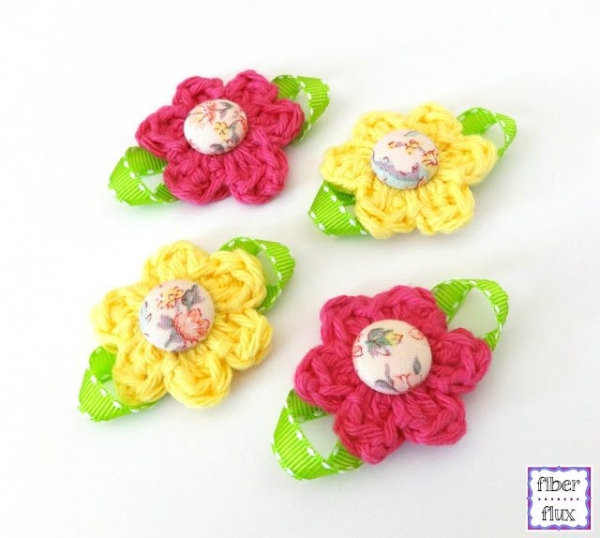 button crochet flower pattern