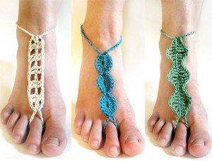 Crochet Patrón sandalias Descalzas