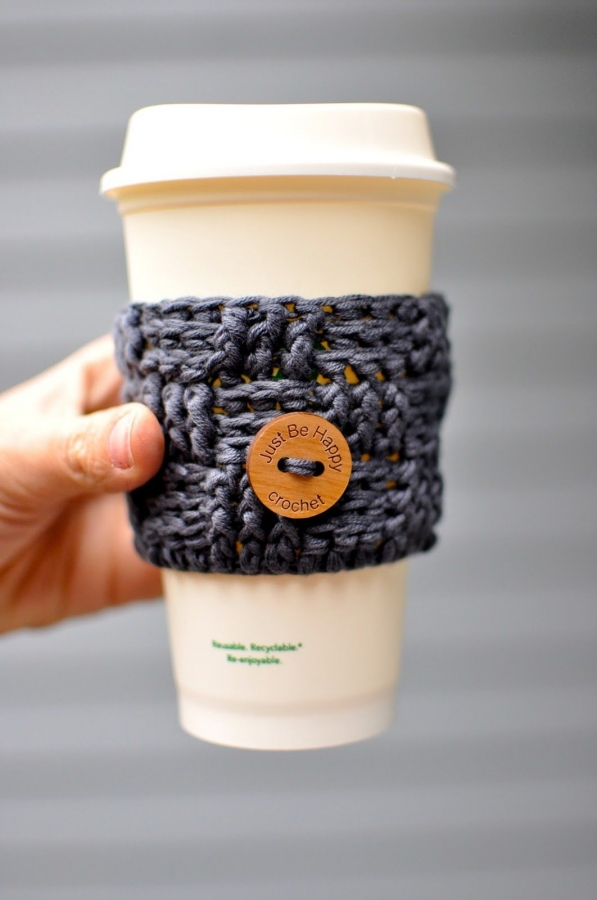 crochet coffee sleeve