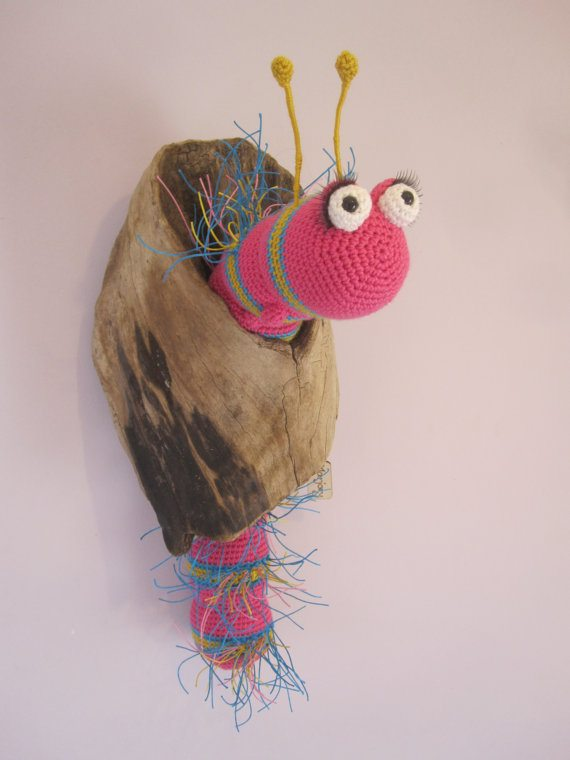 crochet driftwood caterpillar