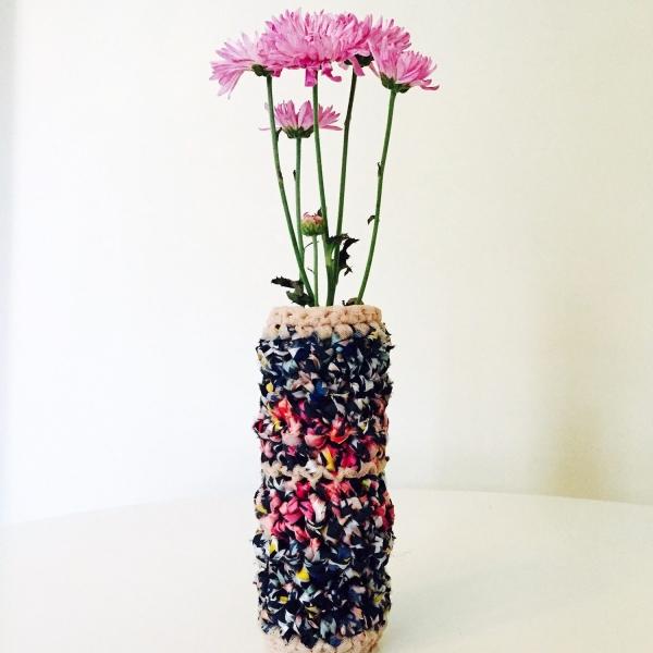 crochet flower vase