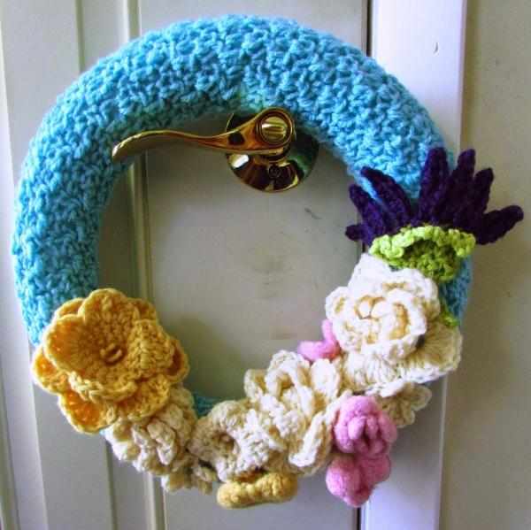 gehaakte bloem krans