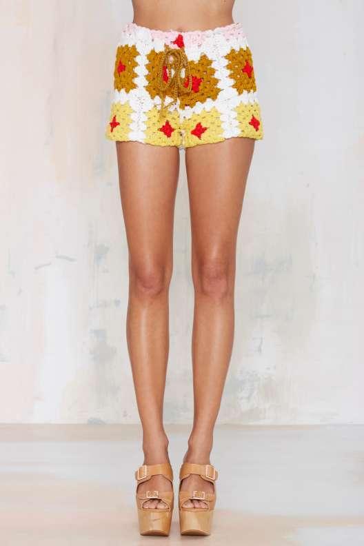 crochet granny shorts nasty gal