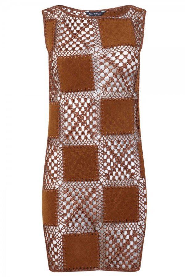 crochet leather dress