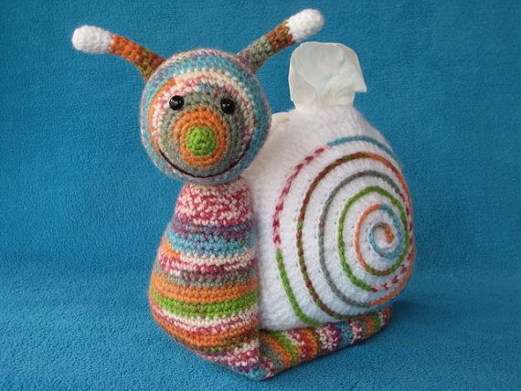 crochet snail tissue cozy